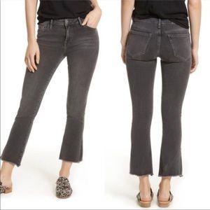 Free People Faded Gray Cropped Jeans Raw Hem Sz 31